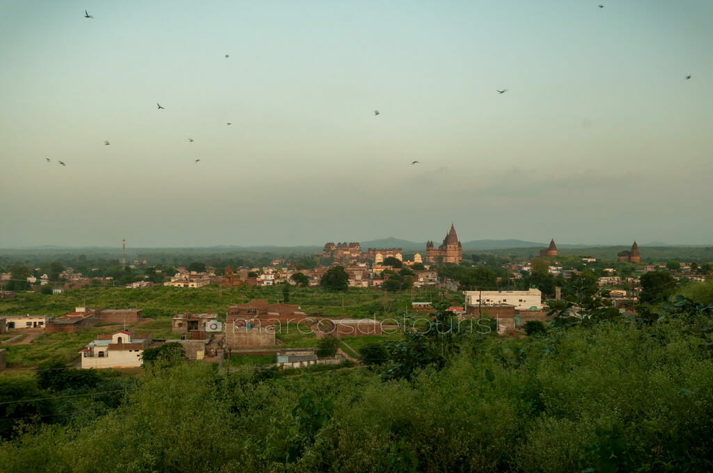 View of Orchha Fort and Town Center, Orchha, Madhya Pradesh, Ind