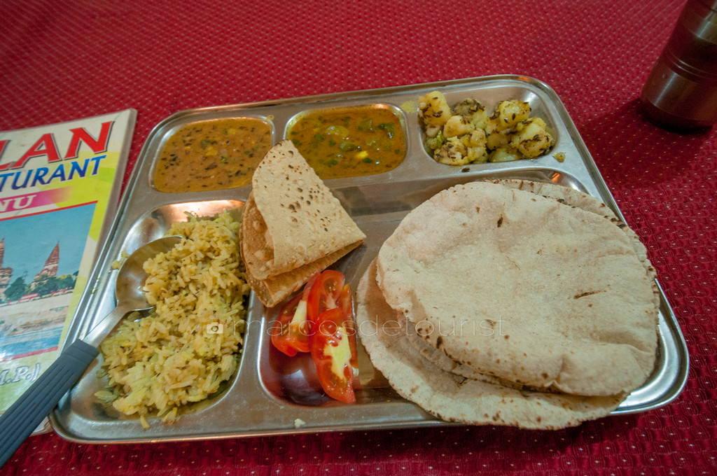 Thali meal, Orchha, Madhya Pradesh, India