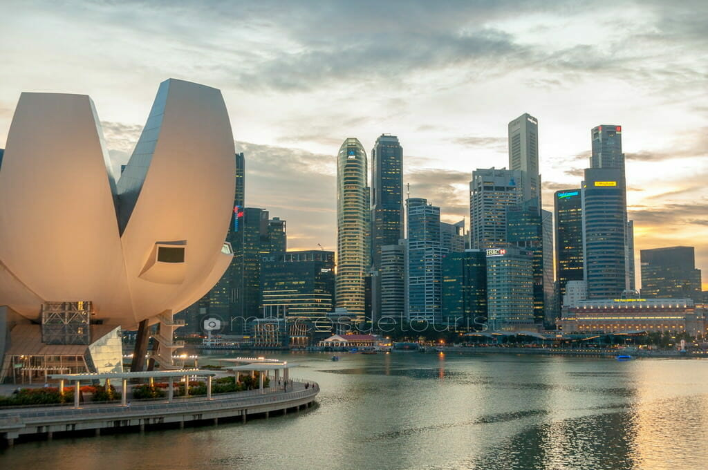 Singapore Skyline viewed from Double Helix Bridge, Singapore