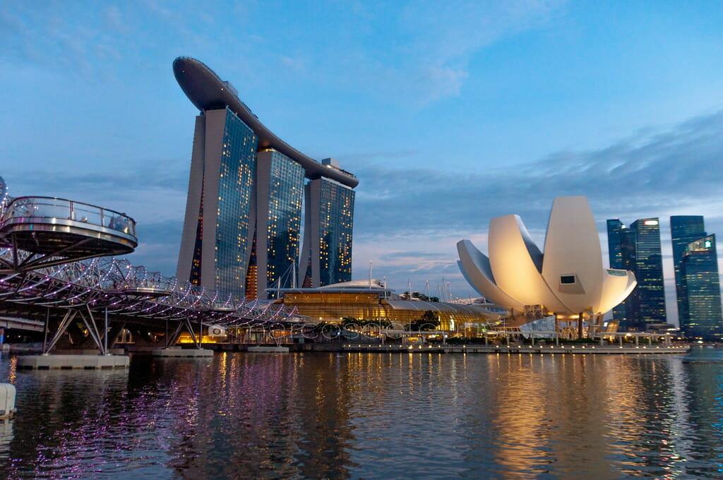 Singapore Skyline with Double Helix Bridge, Marina Bay Sands, Si