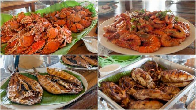 Seafood lunch menu at Camiña Bahay na Kawayan in Guimaras.