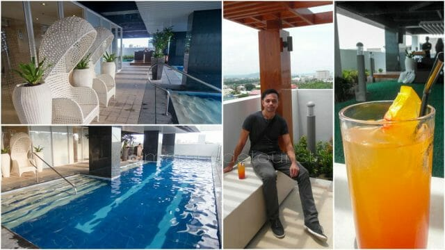 Welcome drinks at the 5th floor poolside area of Injap Tower Hotel.