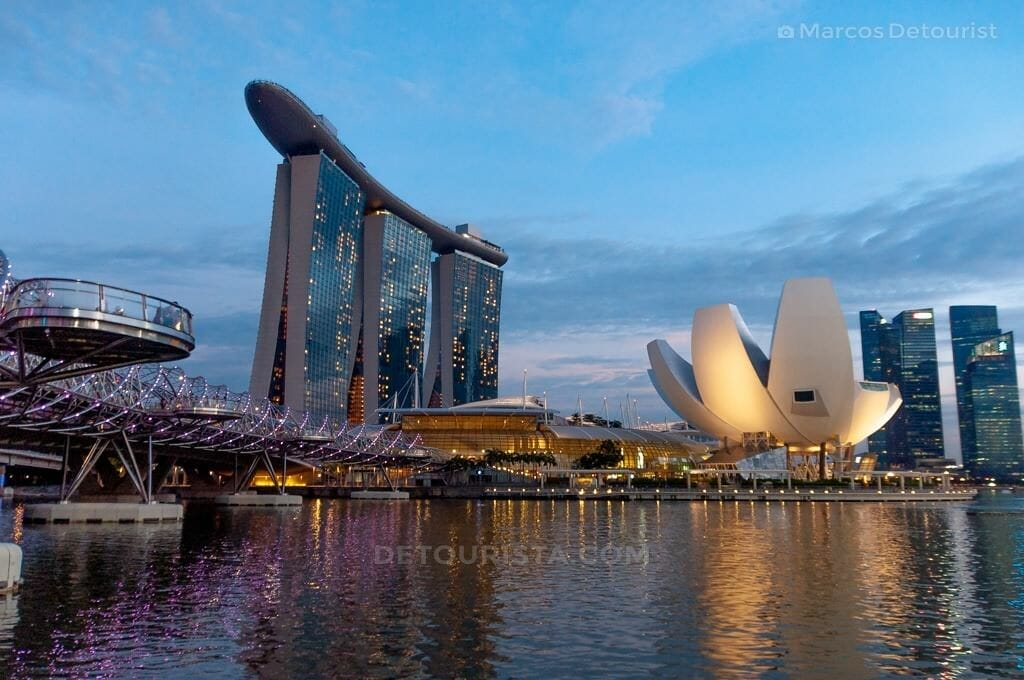 Singapore Skyline with Double Helix Bridge, Marina Bay Sands, Si