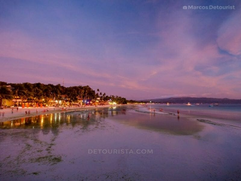 Sunset at White Beach, Boracay Island, Malay, Aklan, Philippines
