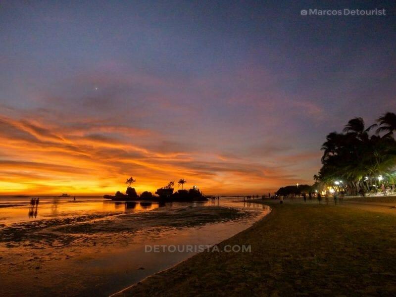 Sunset at White Beach, Boracay Island, Malay, Aklan, Philippines
