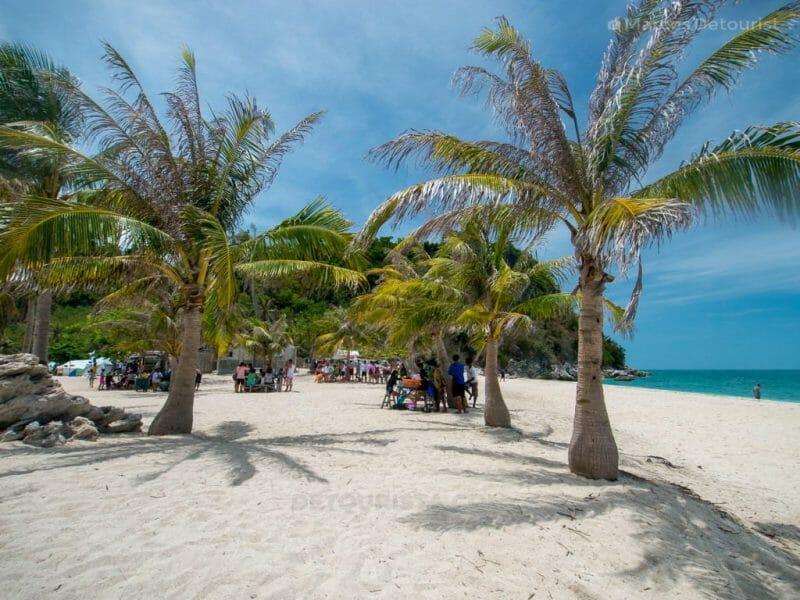 Picnic tables at Antonia Beach, Gigantes Sur Island, Carles, Iloilo, Philippines