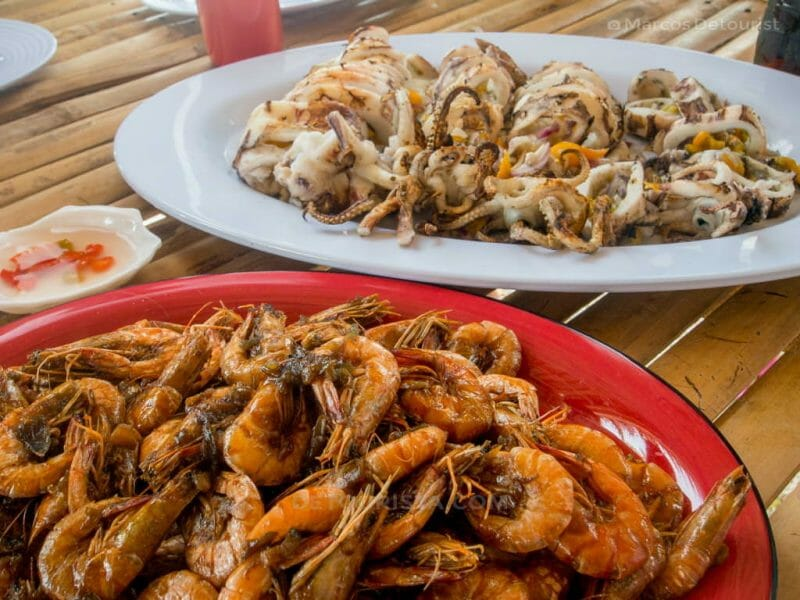 Shrimp and Grilled Squid - Lunch at Maruja Flora's Island Resort, Cabugaw Gamay Island, Carles, Iloilo, Philippines