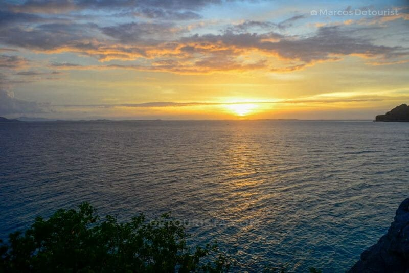 Sunset view from the viewing deck at Cabugaw Gamay Island, Gigantes Islands, Carles, Iloilo, Philippines