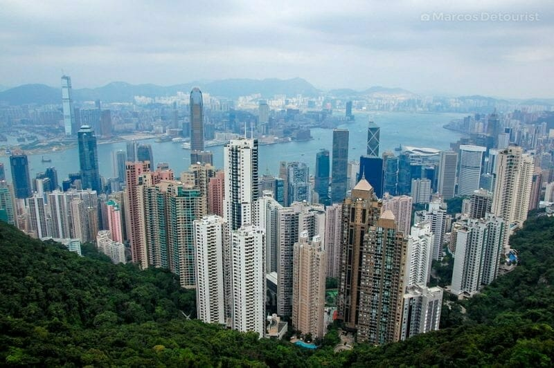Skyline view looking north towards Victoria Harbour and Kowloon from The Peak - Sky Terrace 428 in Victoria Peak, Hong Kong