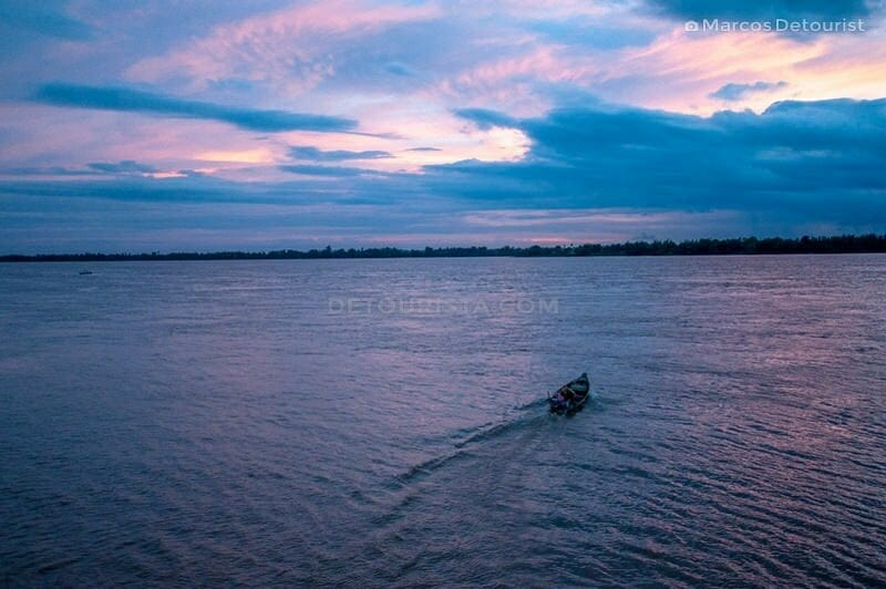 Sunset at the Mekong River, in Kratie, Cambodia