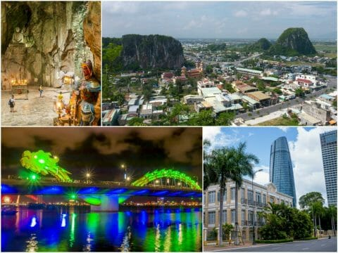 Da Nang, Vietnam Riverside Walk and Marble Mountains