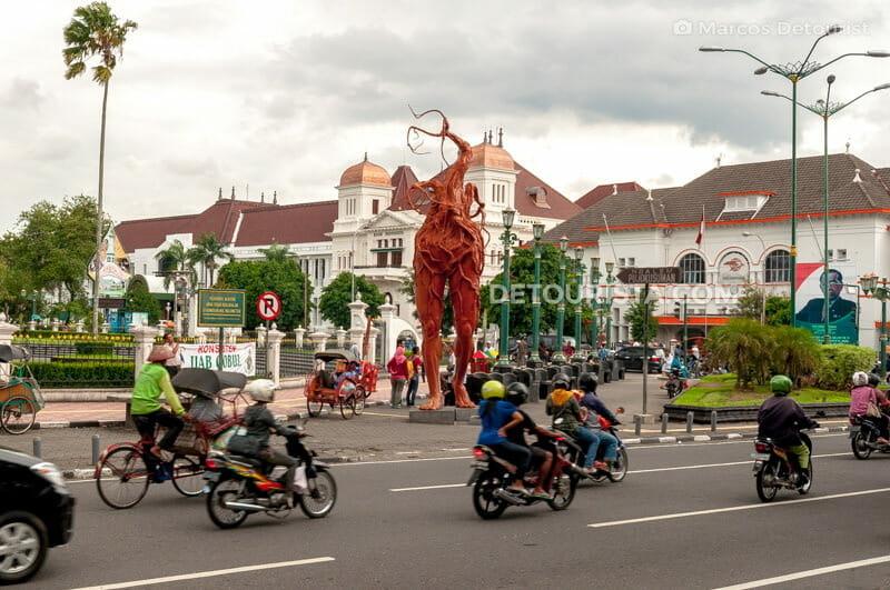 Dutch-colonial buildings & public art along Malioboro Street, in Yogyakarta, Java, Indonesia