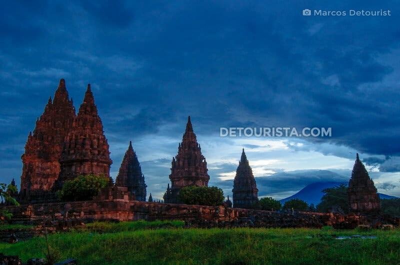 Prambanan Temple Complex & Merapi Volcano at dusk, in Yogyakarta, Java, Indonesia
