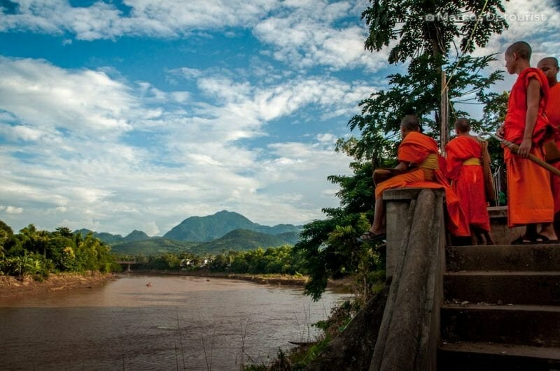 Monk apprentices at the riverside in Luang Prabang, Laos