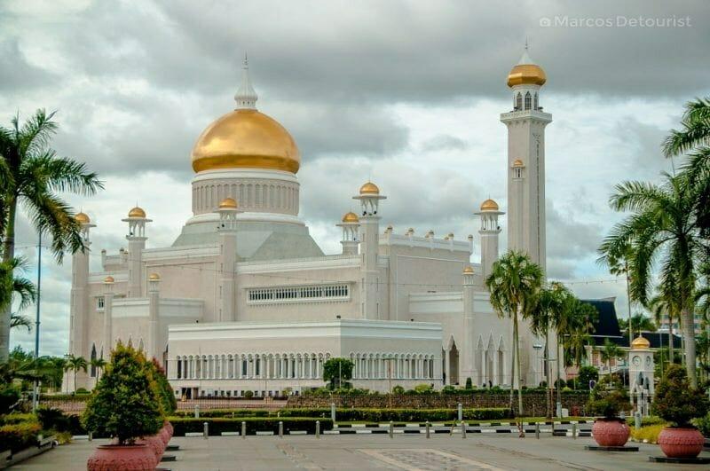 View of Omar Ali Saifuddien Mosque from Yayasan Sultan Haji Hassanal Bolkiah Complex in Bandar Seri Begawan, Brunei