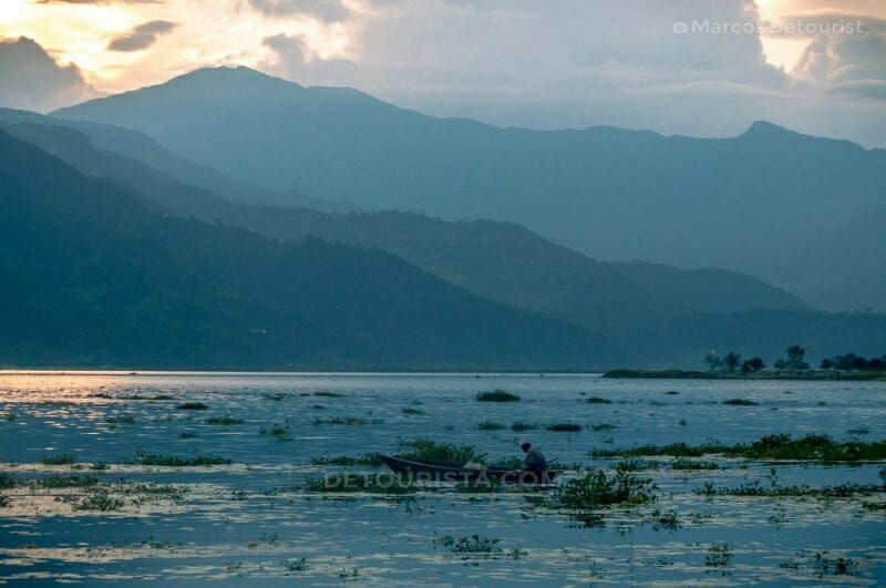 Sunset view at Phewa Lake in Pokhara, Nepal