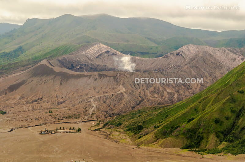 Mount Bromo summit crater in East Java, Indonesia