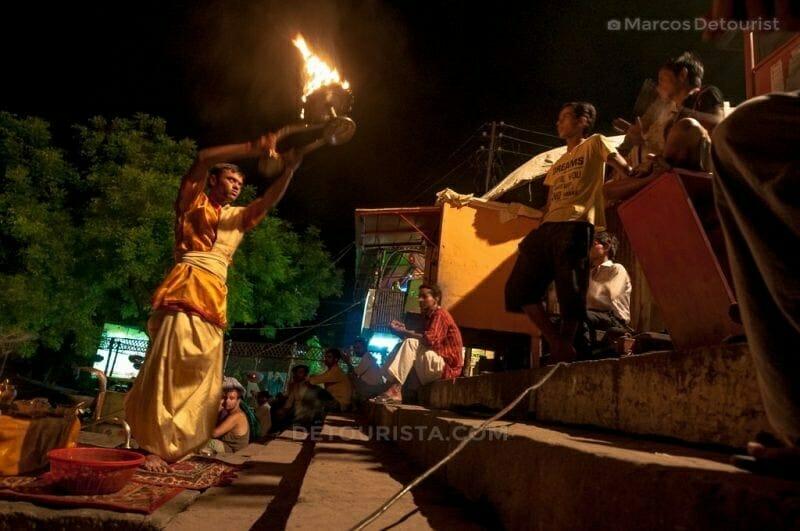 Evening Puja at Tulsi Ghat in Varanasi, India