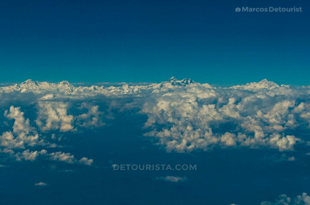View of the Himalayan Mountains from a plane