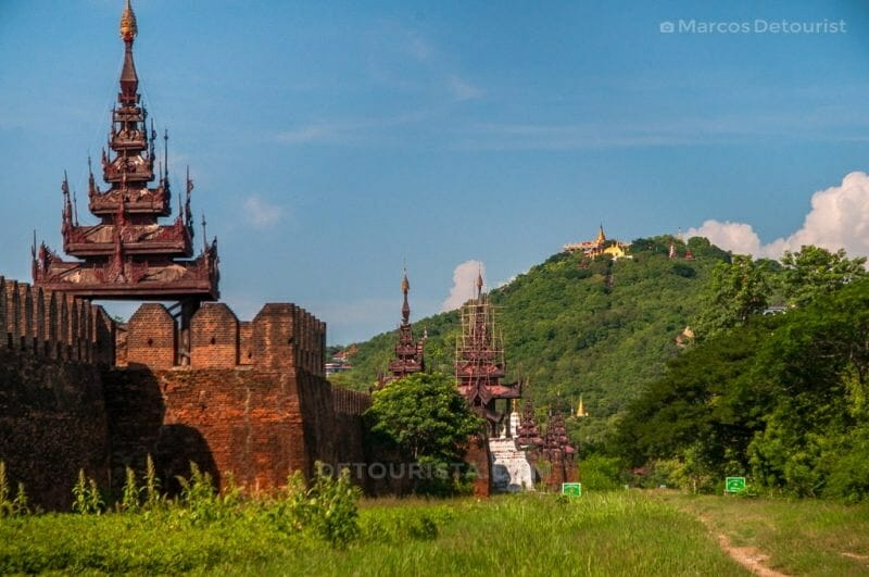 Mandalay Royal Palace and Mandalay Hill in Myanmar