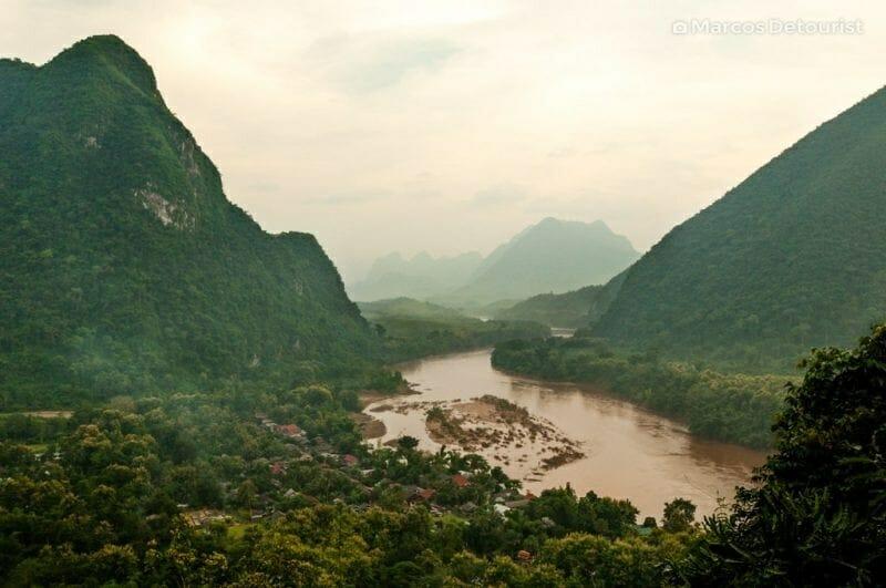 Overlooking Muang Ngoi Neua in Ngoi, Laos