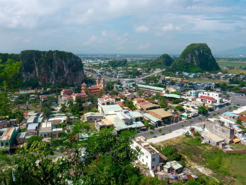 Overlooking view from the top of Marble Mountains in Da Nang, Vietnam