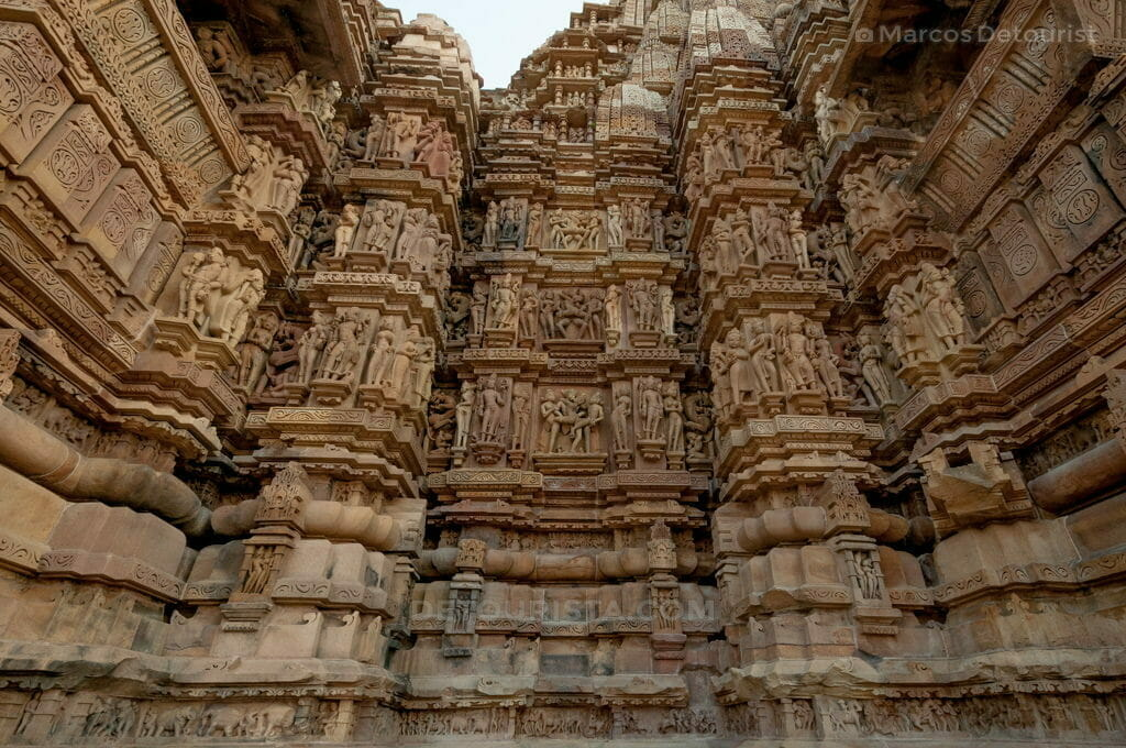 Erotic Carvings on a temple in Khajuraho