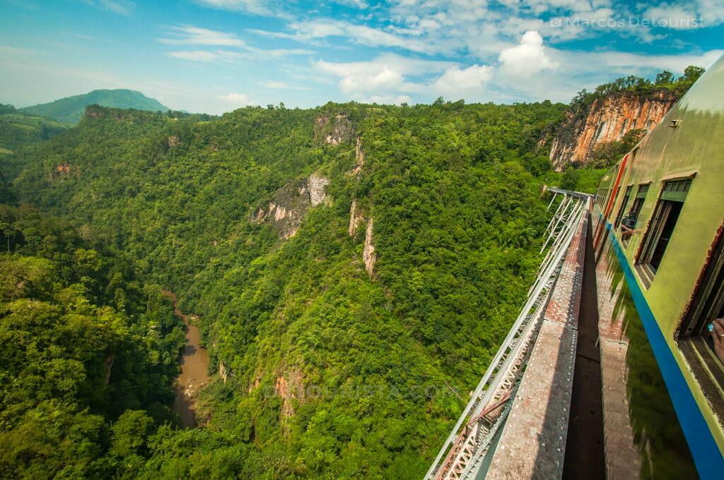 Goteik Gorge viewed from the train bridge