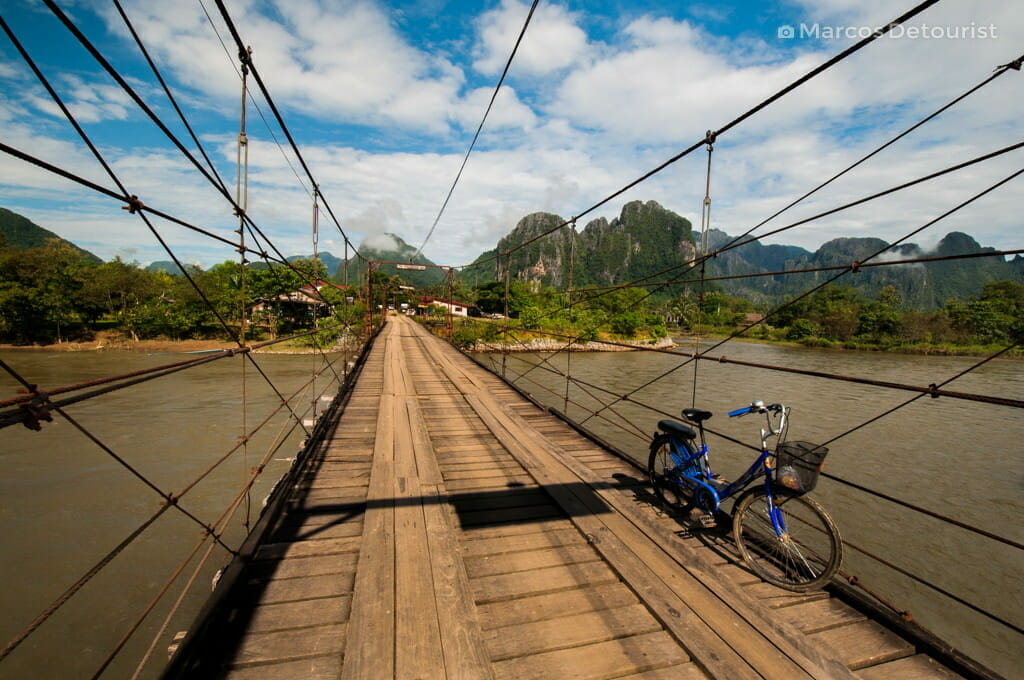 View along the bicycle trail in Vang Vieng, Laos