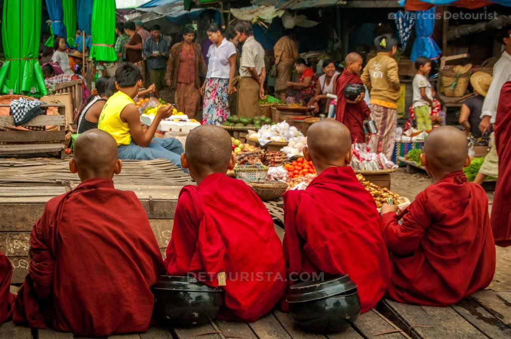 Apprentice Monks at Hsipaw Morning Market