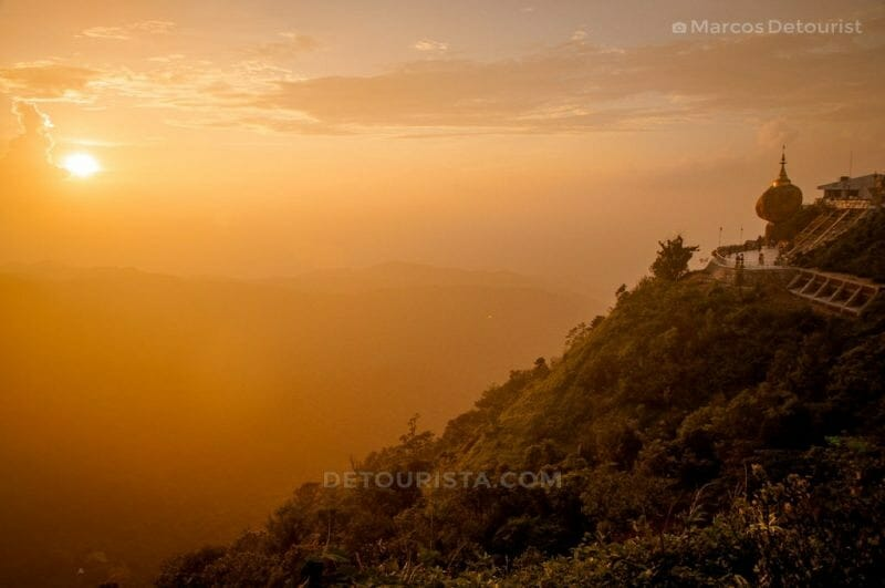 Sunset at Kyaiktiyo Golden Rock Pagoda in Myanmar