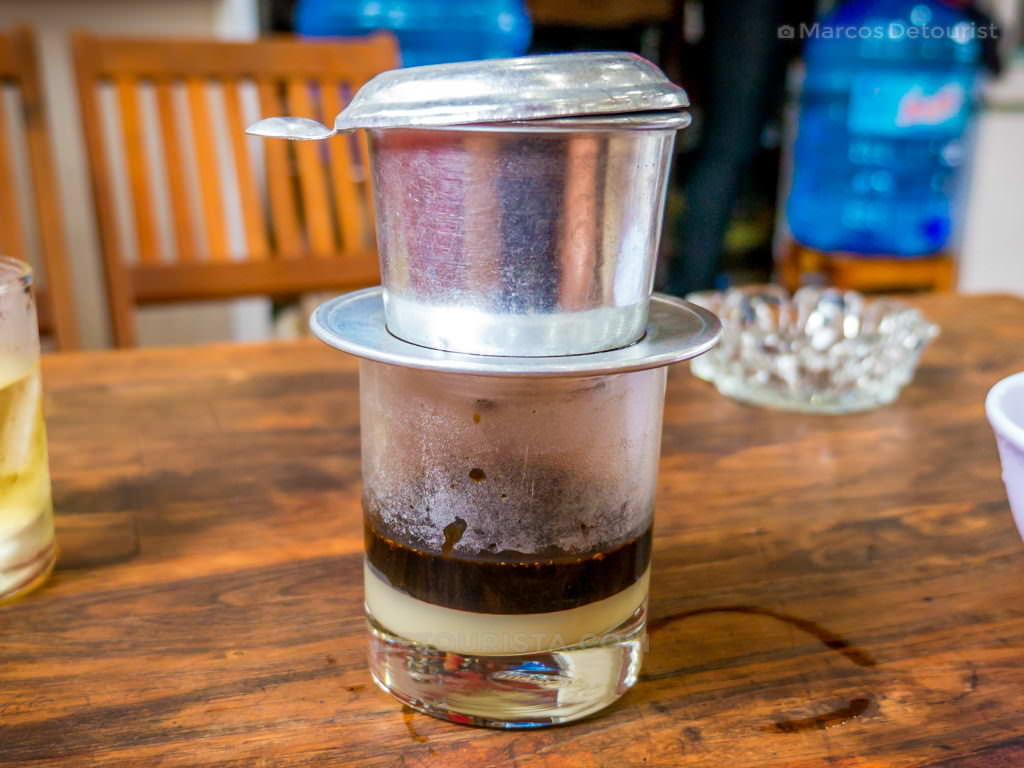 Traditional Vietnamese Phin Coffee in Hue, Vietnam