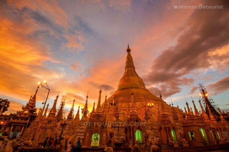 Sunset at Shwedagon Paya (Pagoda) in Central Yangon, Myanmar