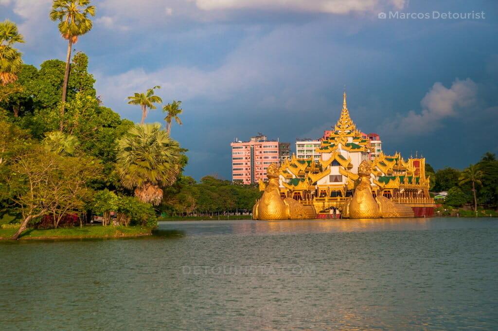 Karaweik Hall and Kandawgyi Lake