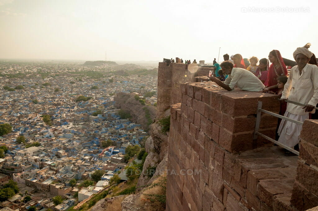 Overlooking view of the blue city from Mehrangarh Fort in Jodhpu