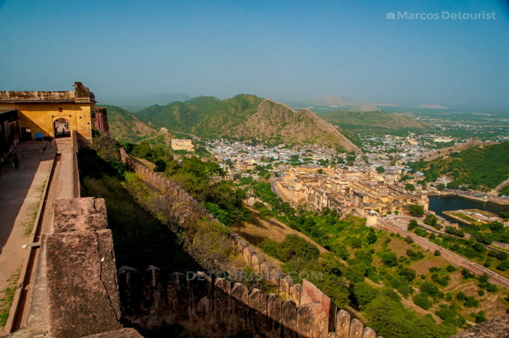 Overlooking view of Amber Fortress from Jaigarh Fortress in Jaipur, Rajasthan, India