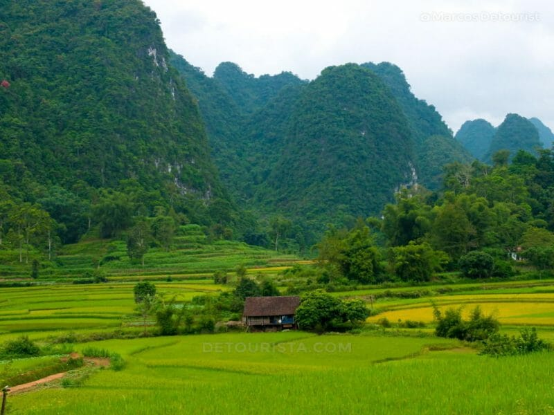 Farms and karst mountain in Cao Bang, Vietnam