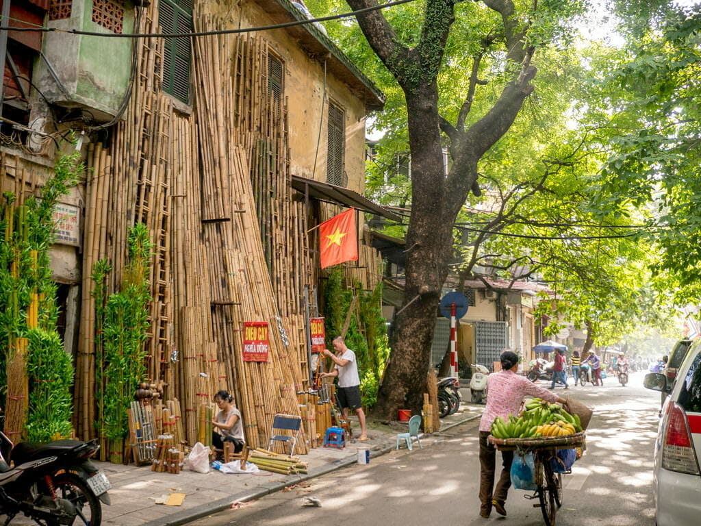 Local shops selling bamboo products at the Old Quarter in Hanoi, Vietnam