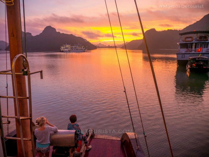 Sunrise twilight view from our cuise boat in Ha Long Bay, Quang Ninh, Vietnam