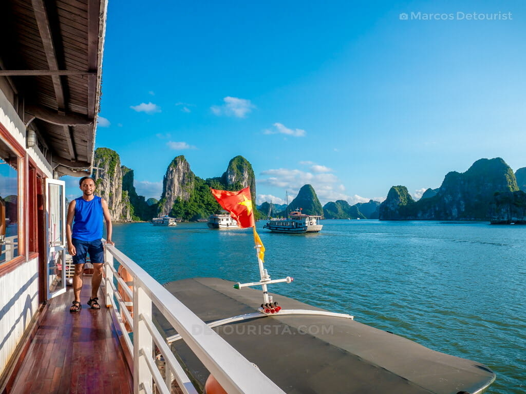 Clear Blue Skies and sunny weather in Ha Long Bay, Quang Ninh, Vietnam