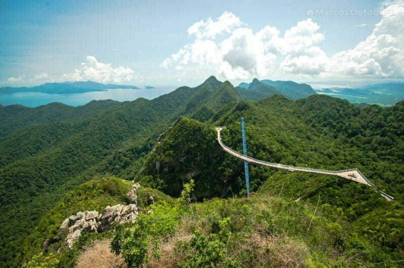 Sky Bridge overlooking the forest and the Andaman Sea in Langkawi, Malaysia