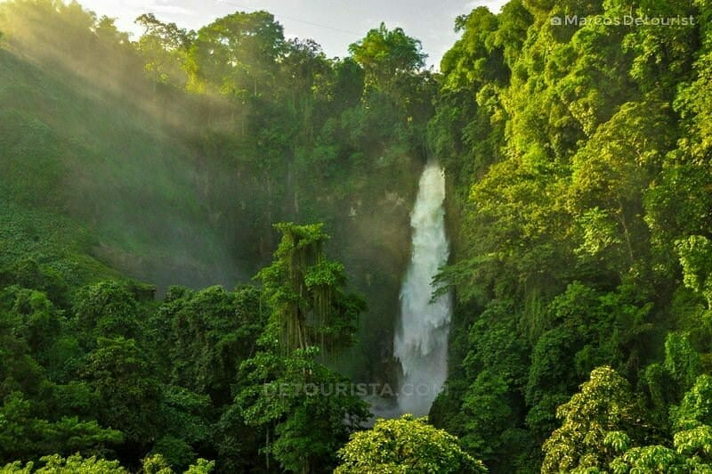 Hikong Bente Waterfall viewed from the trek jump-off point in Lake Sebu, South Cotabato, Philippines