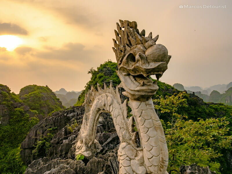 Sublime sunset with the dragon on the peak, in Ninh Binh, Vietnam, on September 2015