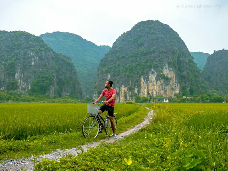 On my bicycle tour through Ninh Binh's amazing coutryside landscapes, in Ninh Binh, Vietnam, on September 2015
