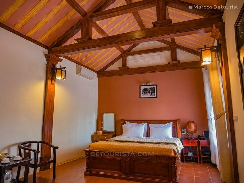 My bed and room for three days at Mua Caves Eco Lodge, in Ninh Binh, Vietnam, on September 2015