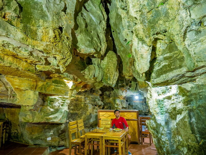 Marcos having dinner at the restaurant, outside Hang But Cave, at Mua Caves Eco Lodge, in Ninh Binh, Vietnam, on September 2015