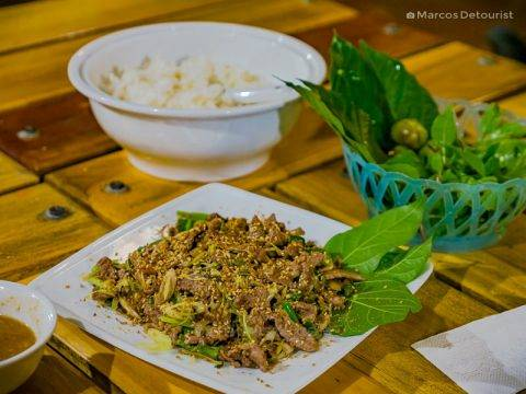 Delicious goat meat dish served at the restaurant, in Mua Caves Eco Lodge, Ninh Binh, Vietnam, on September 2015