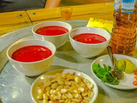 Goat Blood Soup, for three, at the restaurant, in Mua Caves Eco Lodge, Ninh Binh, Vietnam, on September 2015