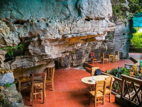 Morning view of the restaurant, in Mua Caves Eco Lodge, Ninh Binh, Vietnam, on September 2015