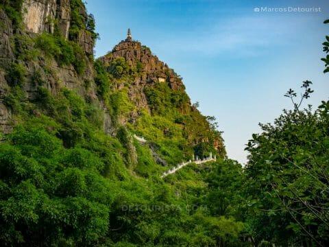 Pagoda tower at the mountaintop, at Mua Caves, in Ninh Binh, Vietnam, on September 2015